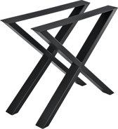 Stalen X - tafelpoot meubelpoot 2 stuks set 79x72cm zwart