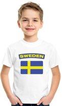 Zweden t-shirt met Zweedse vlag wit kinderen XS (110-116)