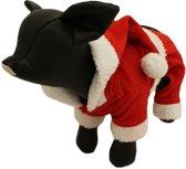 Fleece broekje en jasje voor de kerst - XL ( rug lengte 24 cm, borst omvang 44 cm, nek omvang 38 cm )