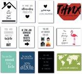 Set van 12 kaarten met quotes over van en voor je liefde - zwart-wit kaarten - kaarten met kleur - liefdeskaarten - quote kaarten - vriendschapskaarten
