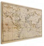 Historische wereldkaart op canvas - Vintage - wand decoratie 60x40 cm - Wereldkaarten.nl