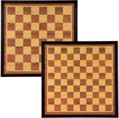 Abbey Game Dam-/Schaakbord 49.5 x 49.5 cm - Bruin/Ecru