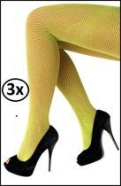3x Netpanty fluo geel