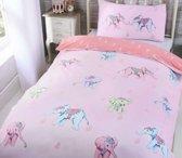 1 persoons meisjesdekbedovertrek roze met olifanten in pasteltinten
