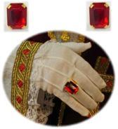 Stinterklaas ring rechthoekige rode steen luxe