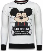 Local Fanatic Bad Mouse - Rhinestone Sweater - Wit - Maten: XXL