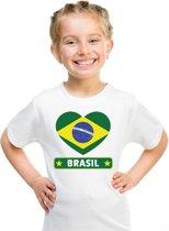 Brazilie kinder t-shirt met Braziliaanse vlag in hart wit jongens en meisjes XS (110-116)
