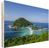 Eilanden voor de kust van Ko Tao Thailand Vurenhout met planken 30x20 cm - klein - Foto print op Hout (Wanddecoratie)