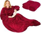 TecTake - Tv-deken met mouwen 170 x 200 cm rood - 402433