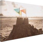Zandkasteel op het strand Canvas 30x20 cm - klein - Foto print op Canvas schilderij (Wanddecoratie woonkamer / slaapkamer)