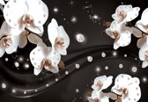 Fotobehang Flowers Orchids Pattern | PANORAMIC - 250cm x 104cm | 130g/m2 Vlies