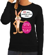Paas sweater Ei will always love you zwart voor dames L