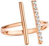 943284105-58 Zilveren ring - Parallel Bar - Zirkonia - 18,50 mm - Rosékleurig