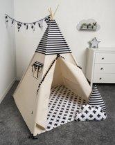 FUJL - Tipi Tent - Speeltent - Wigwam - kinder tipi -  Set Black & White - Inclusief asseccoires