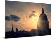 Uitzicht op de St Paul's Cathedral tijdens de schemering Aluminium 160x120 cm - Foto print op Aluminium (metaal wanddecoratie) XXL / Groot formaat!