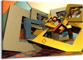 Canvas schilderij Abstract   Geel, Grijs, Zwart   140x90cm 1Luik