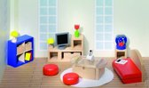 Goki Houten poppenhuis woonkamer 28-delig