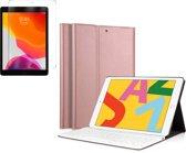 iPad 2019 Hoes met Toetsenbord + Screenprotector Glas - 10.2 Inch - Roségoud