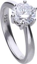 Diamonfire - Zilveren ring met steen Maat 19.5 - Steenmaat 8 mm - Chatonzetting