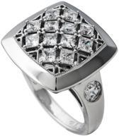 Diamonfire - Zilveren ring met steen Maat 18.5 - Vierkant - Gevuld met kleine zirkonia