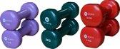 RS Sports dumbellset - vinyl dumbells - 2x 1 kg 2x 2 kg 2x 3 kg - Diverse kleuren