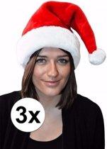 3 rode kerstmutsen voor volwassenen - polyester - one size - kerstmuts