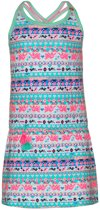 Mim-pi Meisjes Jurk - Blauw met multicolor - Maat 104