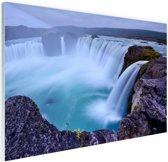 Een grote ronde waterval in IJsland Glas 30x20 cm - klein - Foto print op Glas (Plexiglas wanddecoratie)