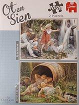 Ot & Sien - 2 stuks van 1000 stukjes - waterval & Zonnen in de tuin