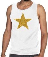 Gouden ster glitter tanktop / mouwloos shirt wit heren - heren singlet Gouden ster M