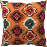 Orange Aztec Kussenhoes | Katoen/Linnen | 45 x 45 cm