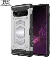 Ntech Samsung Galaxy S10 Plus Luxe Armor Hoesje met Pashouder - Zilver