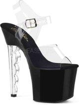 RADIANT-708LG (EU 36 = US 6) 7 Heel, 3 1/4Ankle Strap Sandal w/ Glitter Bottom