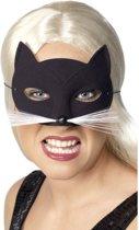 Oogmasker Kat Zwart met Snorharen