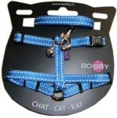 Bobby tuig voor  en looplijn voor kat nylon reflecterend blauw 30x1 cm