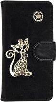 MP Case® PU Leder Mystiek design Zwart Hoesje voor Apple iPhone 7 / 8 Kat Figuur book case wallet case