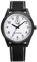 Q&Q Smile Solar 651008 horloge 100 meter 40 mm zwart/ wit