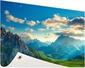 Zonsondergang in de bergen Tuinposter 200x100 cm - Tuindoek / Buitencanvas / Schilderijen voor buiten (tuin decoratie) XXL / Groot formaat!