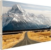 FotoCadeau.nl - Weg naar de bergen Hout 80x60 cm - Foto print op Hout (Wanddecoratie)