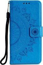 Shop4 - iPhone Xr Hoesje - Wallet Case Mandala Patroon Blauw