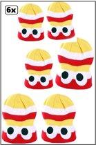6x Gebreide muts streep rood wit geel met ogen