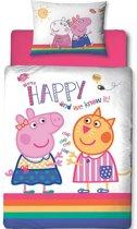 Peppa Pig Hooray junior - Dekbedovertrek - Eenpersoons - 120 x 150 cm - Multi