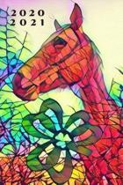 Colorful Irish Shamrock Horse 25 Month Weekly Planer Dated Calendar 2 years plus December