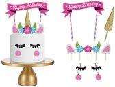 Taartdecoratie – eenhoorn taart decoratie. Maak je eigen taart uniek met deze unicorn taartversiering – set met 11 decoratieve elementen voor 1 eenhoorn taart!
