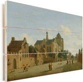 De kerk van Veere Vurenhout met planken 40x30 cm - klein - Foto print op Hout (Wanddecoratie)