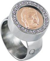 Quiges RVS Schroefsysteem Ring met Zirkonia Zilverkleurig Glans 17mm met Verwisselbare Rosé Boeddha 12mm Mini Munt