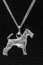 Zilveren Irish terrier ketting hanger - groot