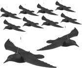 relaxdays 10x duivenverschrikker vliegende kraai - vogelverschrikker - tuinfiguur – afweer