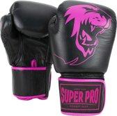 Super Pro Combat Gear Warrior Lederen (kick)bokshandschoenen Zwart/Roze 8oz