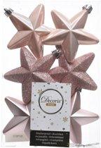 6x Lichtroze sterren kerstballen 7 cm - Glans/mat/glitter - Onbreekbare plastic kerstballen - Kerstboomversiering lichtroze